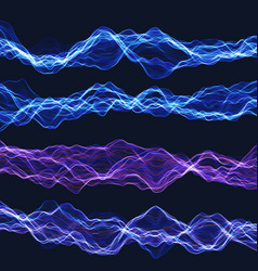 set energy chaotic waves sound or energy waves vector image