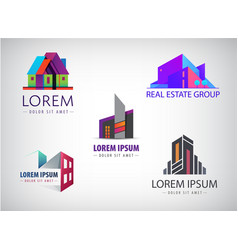 set multicolored real estate logo vector image