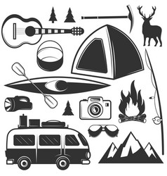 set of camping objects isolated on white vector image