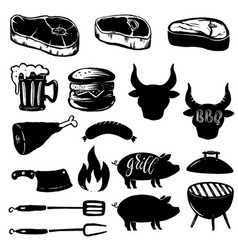 set of grill design elements steak grill burger vector image