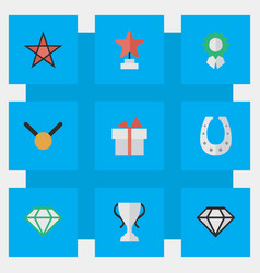 Set of simple prize icons elements champion vector