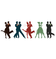 silhouettes of five couples wearing clothes in vector image