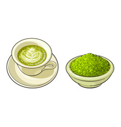 sketch bowl of powder cup of mathca tea vector image