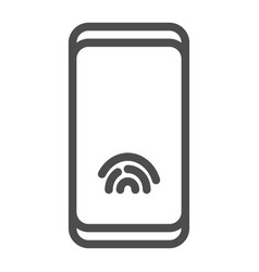 smartphone with fingerprint sensor line icon vector image