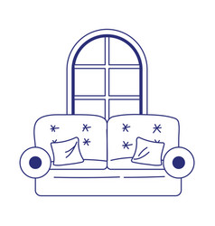 sofa with cushions and window house isolated icon vector image
