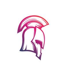 Spartan warrior helmet logo vector