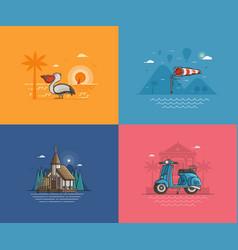summer seaside backgrounds set vector image