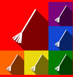 sweeping broom sign set of icons with vector image