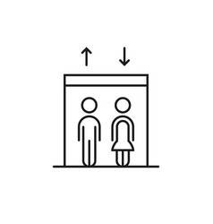 thin line elevator with black stick figure vector image