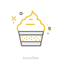 Thin line icons Banoffee vector image