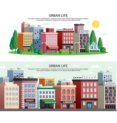 Urban houses district horizontal banners vector