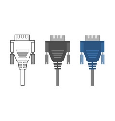 various electronic wire connectors and inputs vector image