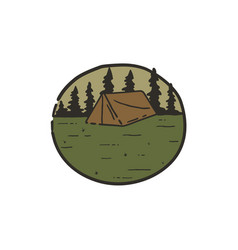 vintage hand drawn camping scene for logo or patch vector image