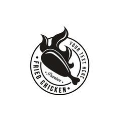 vintage hipster retro emblem fried chicken logo vector image