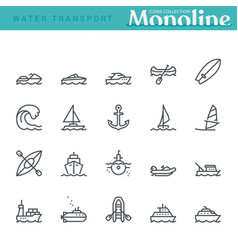 water transport icons vector image