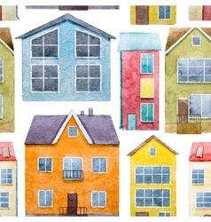 Watercolor houses pattern vector