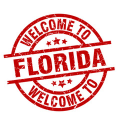 Welcome to florida red stamp vector