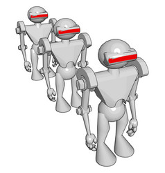 white robots on white background vector image