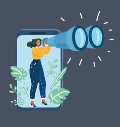 woman with binoculars in phone vector image
