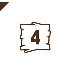 Wooden alphabet blocks with number 4 in wood vector