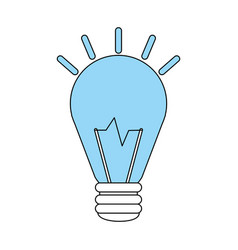 Color silhouette image halogen light bulb on with vector