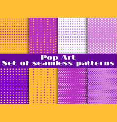 dotted pop art seamless pattern background set vector image vector image