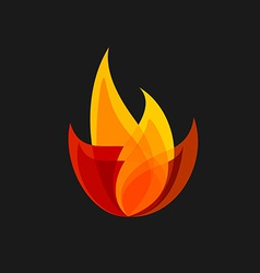 Fire sign Colorful flame logo template vector image