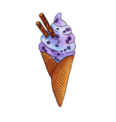 watercolor hand drawn colorful ice cream vector image