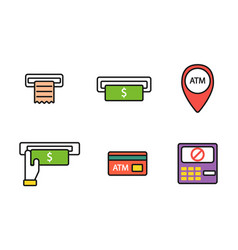 Atm pos-terminal with hand credit card icons vector