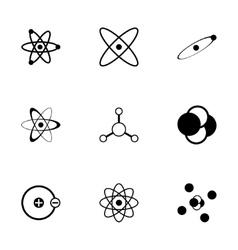 black atom icon set vector image