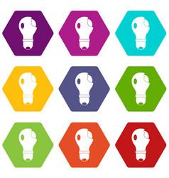 broken lightbulb icon set color hexahedron vector image vector image