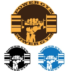 dumbbell in strong hand vector image vector image