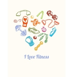 Fitness and gym Background Hand drawn colorful vector image vector image