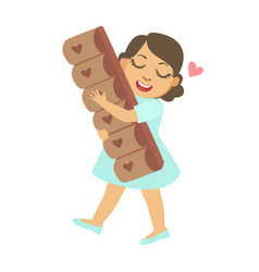 happy little girl carring a big chocolate bar a vector image vector image