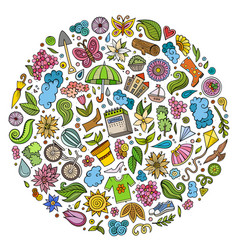 set of spring cartoon doodle objects vector image vector image