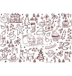 Christmas symbols doodles vector