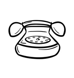 old telephone with hanset and rotary dial vector image