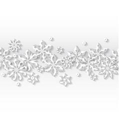 seamless border white snowflakes vector image