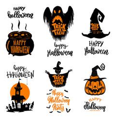 set of halloween banners trick or treat halloween vector image