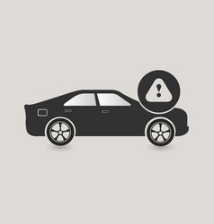 car caution icon vector image vector image