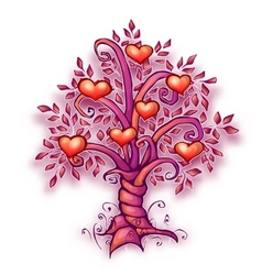 cartoon love tree with vector image vector image