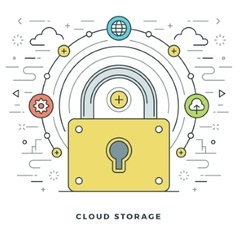 Flat line Cloud Storage Concept vector image