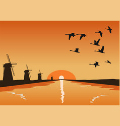 flock of geese flying over river at sunset vector image