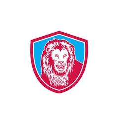 Lion Big Cat Head Shield Retro vector image vector image