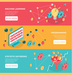 machine learning horizontal banners vector image