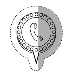 monochrome sticker with telephone and circular vector image vector image