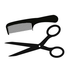 scissors and comb icon isolated on white vector image