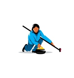 The game of curling sign vector image