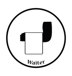 Waiter hand with towel icon vector image vector image