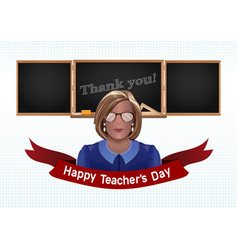 woman teacher on a background of black chalkboard vector image